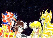 Aiolia, Shaka, Shun with Virgo Cloth, Ikki with Leo Cloth